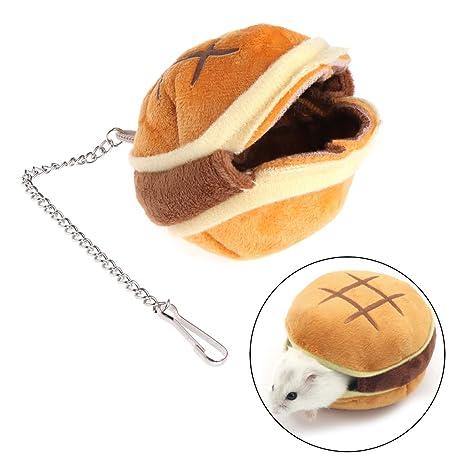 Lunji Hamburger estilo felpa hámster nido, colgante cama Swing juguetes para ardilla ratón pequeño animal