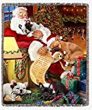 Happy Holidays with Santa Sleeping with Christmas French Bulldogs Woven Throw Blanket 54 X 38