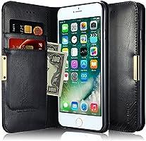 Capa Carteira para iPhone 7 Plus / 8 Plus, KALAIDENG Royalle II [MAGNÉTICO][COURO c/ SUPORTE TPU][DINHEIRO e 3 CARTÕES] , Apple iPhone 7 Plus / iPhone 8 Plus - Preta