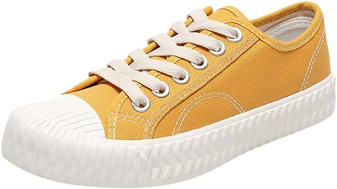 Zapatos para Mujer Mocasines Casual de Lona sólida con Cordones ...