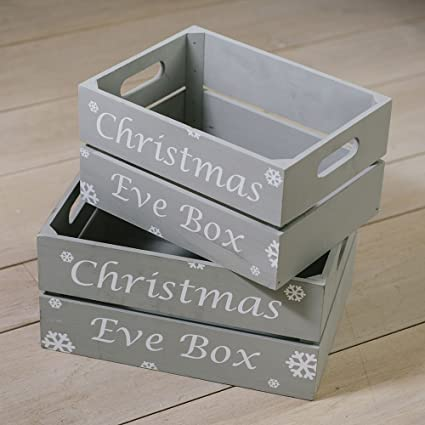 Christmas Crate Box.Medium Christmas Eve Crate With Snowflakes Grey