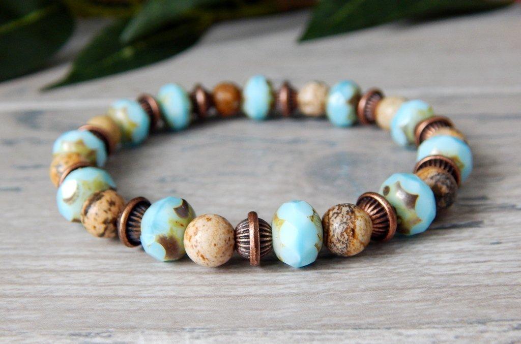 Sky Blue and Earthy Brown Gemstone Beaded Bracelet