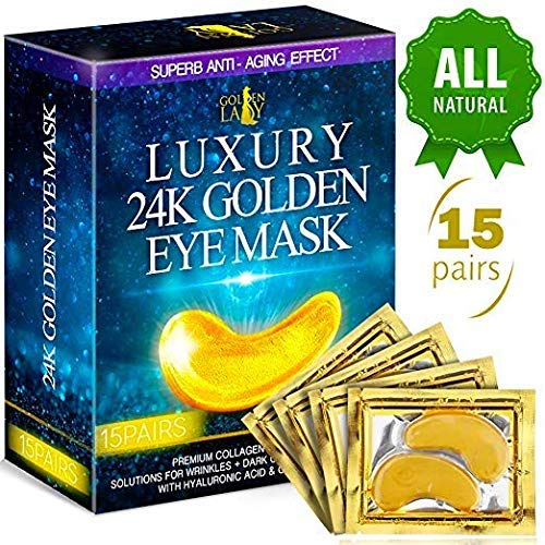 Luxury Under Eye Patches - 24K Gold Eye Mask Anti-Aging Hyaluronic Acid - Under Eye Mask for Reducing Dark Circles & Puffy Eyes (15 PAIRS) - Under Eye Bags Treatment by Golden Lady