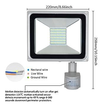 Magnificent Amazon Com Missbee 50W Pir Motion Sensor Led Flood Light Outdoor Wiring Digital Resources Indicompassionincorg