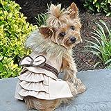 DOGGIE DESIGN Wool Fur Trimmed Dog Harness Coat Leash (XS, Camel)