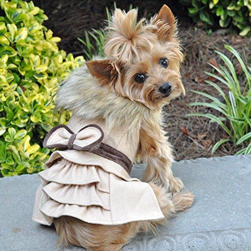 DOGGIE DESIGN Wool Fur Trimmed Dog Harness Coat Leash (S, Camel)