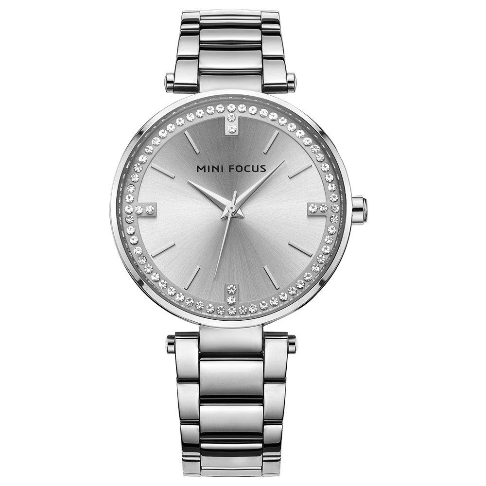 Women Ladies Watches Silver Stainless Steel Bracelet Second Hand Charm Crystal Female Quartz Wristwatch Waterproof