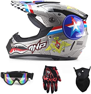SanQing Motorcycle DH Helmet,Outdoor Youth Kids Dirt Bike Helmets,Full Face Motocross Off-Road Downhill Racing Helmet(Gloves, Goggles, Mask, 4 Piece Set)