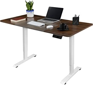 Greesum 55 Inch Electric Height Adjustable Home Office Standing Desk, Modern Design Spacious Computer Table for Healthy Working, Walnut