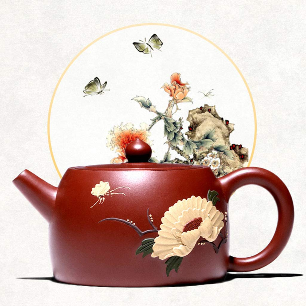 Teapot Pure Handmade Dahongpao Zhu Mudie Love Flower Pot Tea Set Kung Fu Teapot Set Non-ceramic Organ Mine Dahongpao Squirrel Pot (Color : BROWN, Size : 13X8CM) by GQQ (Image #2)