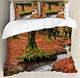 Landscape Duvet Cover Set by Ambesonne, Flowing Stream Colorful Autumn Forest Leaves Gorbea Natural Park Spain, 3 Piece Bedding Set with Pillow Shams, Queen / Full, Paprika and Green