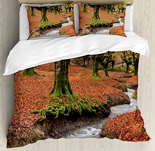 Landscape Duvet Cover Set by Ambesonne, Flowing Stream Colorful Autumn Forest Leaves Gorbea Natural Park Spain, 3 Piece Bedding Set with Pillow Shams, King Size, Paprika and Green by Ambesonne