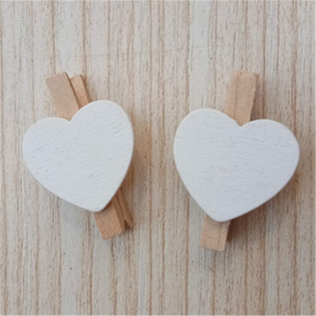 Aobiny 10PCS Mini Love Heart Colored Wooden Heart Clothespins Photo Craft Clips for Wedding Party Decor - Wooden Clothes Photo Paper Peg Pin Clothespin Craft Clips (White)