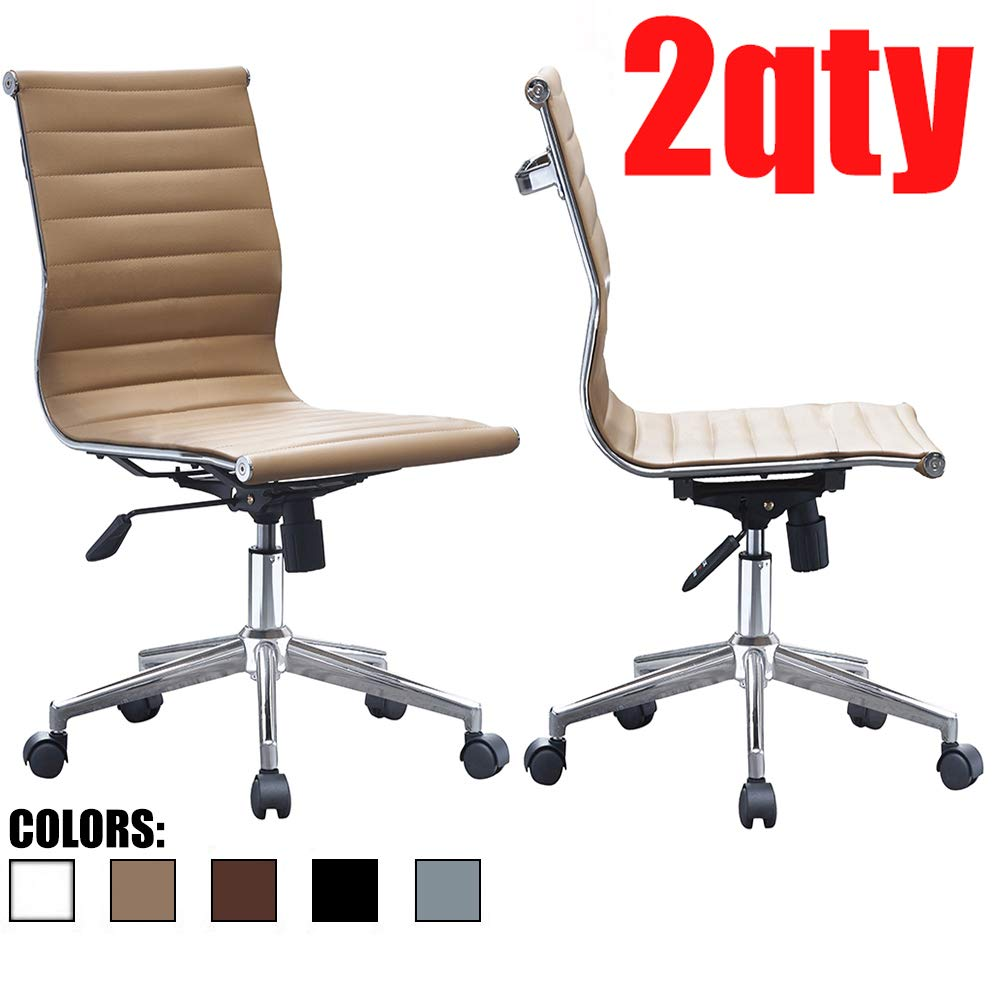 2xhome – Set of Two 2 – Tan – Modern Mid Back Ribbed PU Leather Swivel Tilt Adjustable Office Chair Armless Designer Boss Executive Management Manager Conference Room Work Task Computer