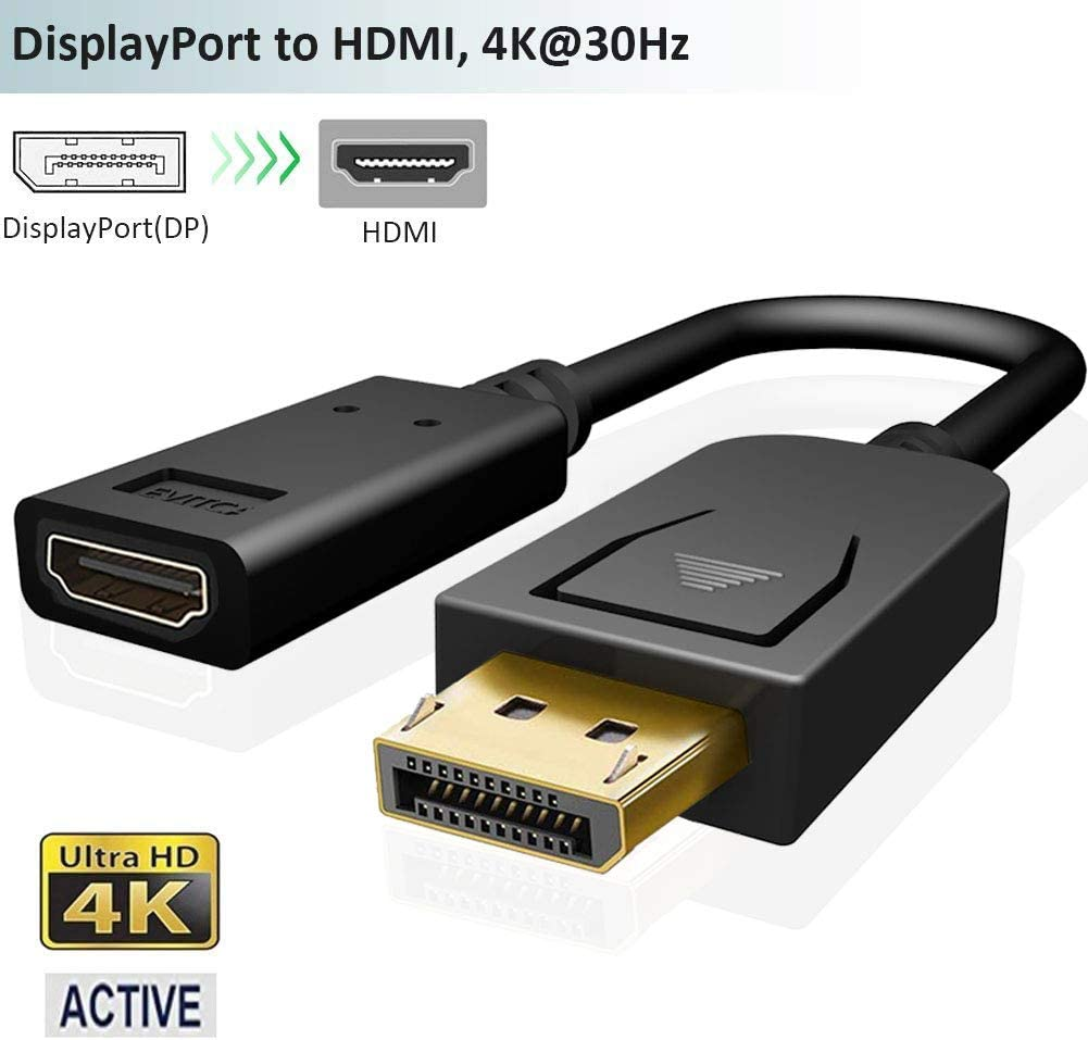 Active DisplayPort to HDMI Adapter,4K Male DP 1.2 in to Female HDMI 1.4 Out Converter,DP-HDMI Video Connector for Laptop,Desktop,PC to Monitor,Projector,TV,AMD Eyefinity Up to 6 Screens for Gaming