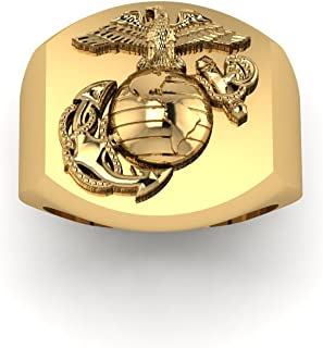 product image for Solid 18K Yellow Gold USMC Large Signet Ring with Eagle Globe and Anchor MR1