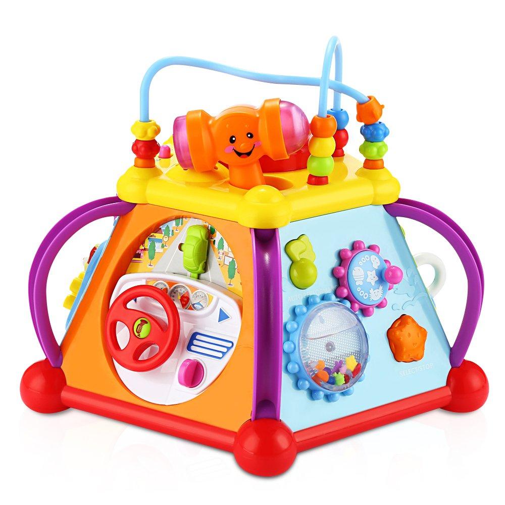 Hola Jouet Musical d'apprentissage Musical Jouet Multifonctionel pour Enfants Jeux Educatifs Cube d'Activités avec Lumière et Son Cadeau Idéal pour Noël et Anniversaire