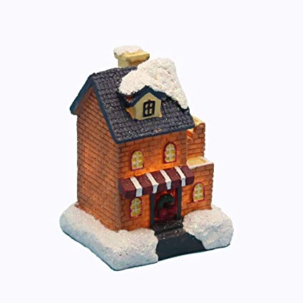 How To Store Christmas Village Houses.Innodept12 Lighting Up Diy Christmas Doll Figurine Tiny Resin House Village Building Small House Store Building