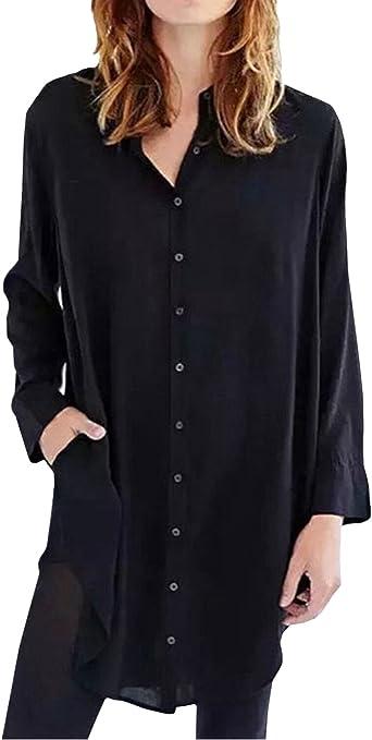 StyleDome - Camisa larga de manga larga para mujer (asimétrica, estilo túnica, holgada e informal)