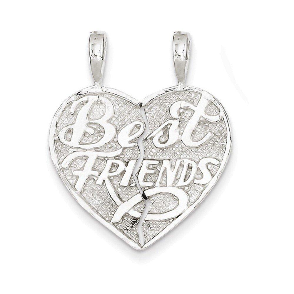 Jewelry Adviser Charms Sterling Silver Best Friend 2-piece break apart Heart Charm
