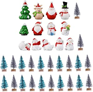 35 Pcs Mini Christmas Trees Sisal with Wood Base for DIY Crafting,Christmas Miniature Ornaments Kit,Snowmen,Reindeer,Santa Clause,Fairy Garden Dollhouse Decor,Displaying and Desktop Home Decoration