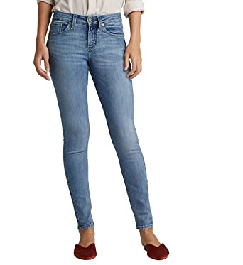 c19358a8 Silver Jeans Co. Women's Avery Curvy Fit High Rise Skinny Jeans, Vintage  Light Wash