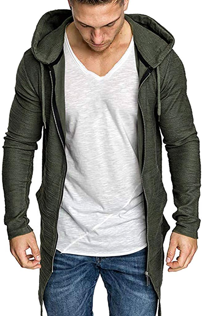 TTOOHHH Mens Long Section Splicing Hooded Solid Trench Coat Jacket Cardigan Long Sleeve Outwear