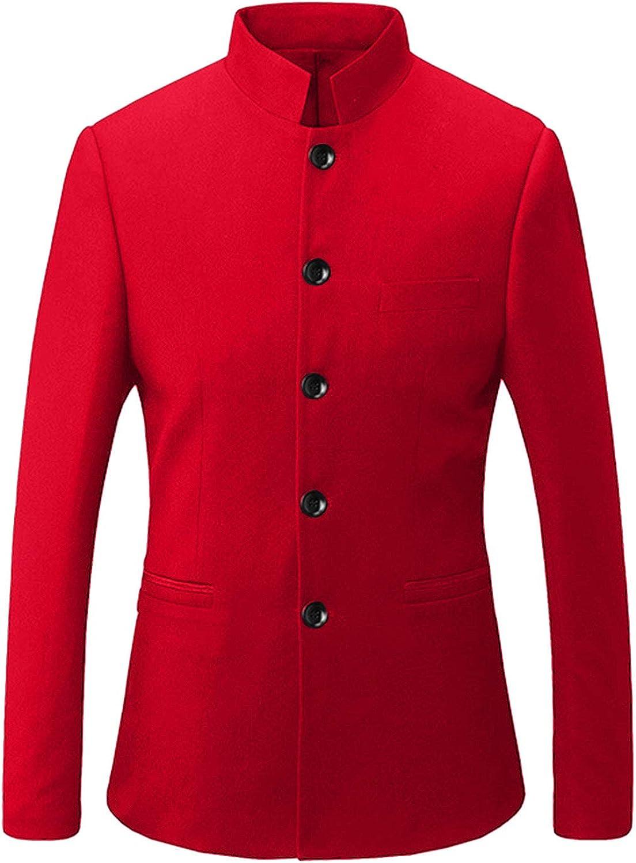 GATMSTZ Men Mandarin Collar Single Breasted Groom Blazer Formal Business Jackets