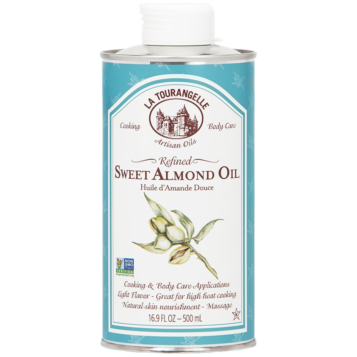 La Tourangelle Sweet Almond Oil 16.9 Fl. Oz., For Both Cooking or Skin Care, Great for Massage or High-Heat Cooking