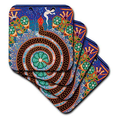 3dRose Folk, Huichol Art, Santa Fe, New Mexico-US32 JMR1118-Julien McRoberts-Ceramic Tile Coasters, Set of 4 (CST_92754_3) (Decor Furniture Fe Santa)