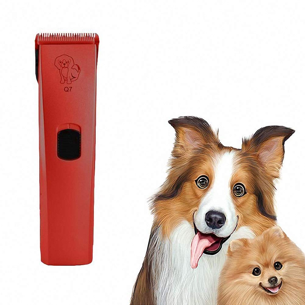 Red USB Chargeable Electric Pet Dog Cat Hair Trimmer Shaver Razor Grooming Clipper,Red