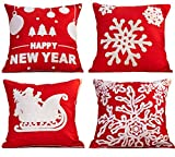 Decorative Pillow Cover - Red Embroidery Christmas Pillow Covers Set of 4, BLUETTEK Happy New Year, Sled, Snowflake, Merry Christmas Decorative Throw Pillow Case Cushion Covers 18 X 18 Inch for Bed Sofa