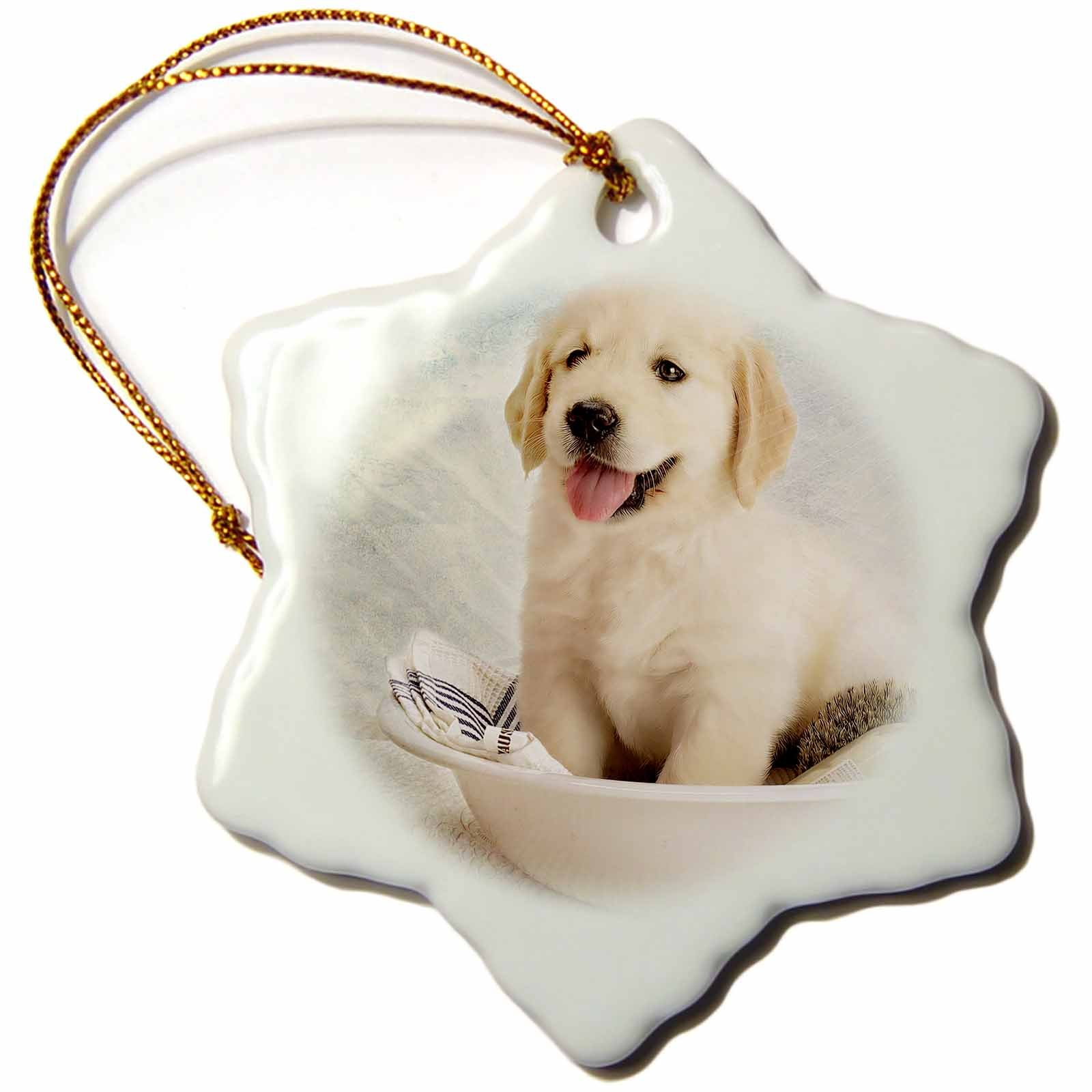3dRose orn_172989_1 Cute Golden Retriever Puppy Spa Day Art Photo Courtesy Baddest Boss Snowflake Ornament, Porcelain, 3''