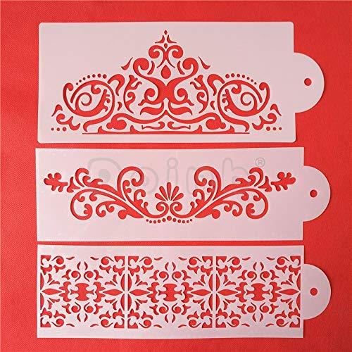 1 Set 3pcs Flower Princess Cake Decorating Tools Fleur De Lis Cake Stencil Carved Fondant Imprint Mat Set
