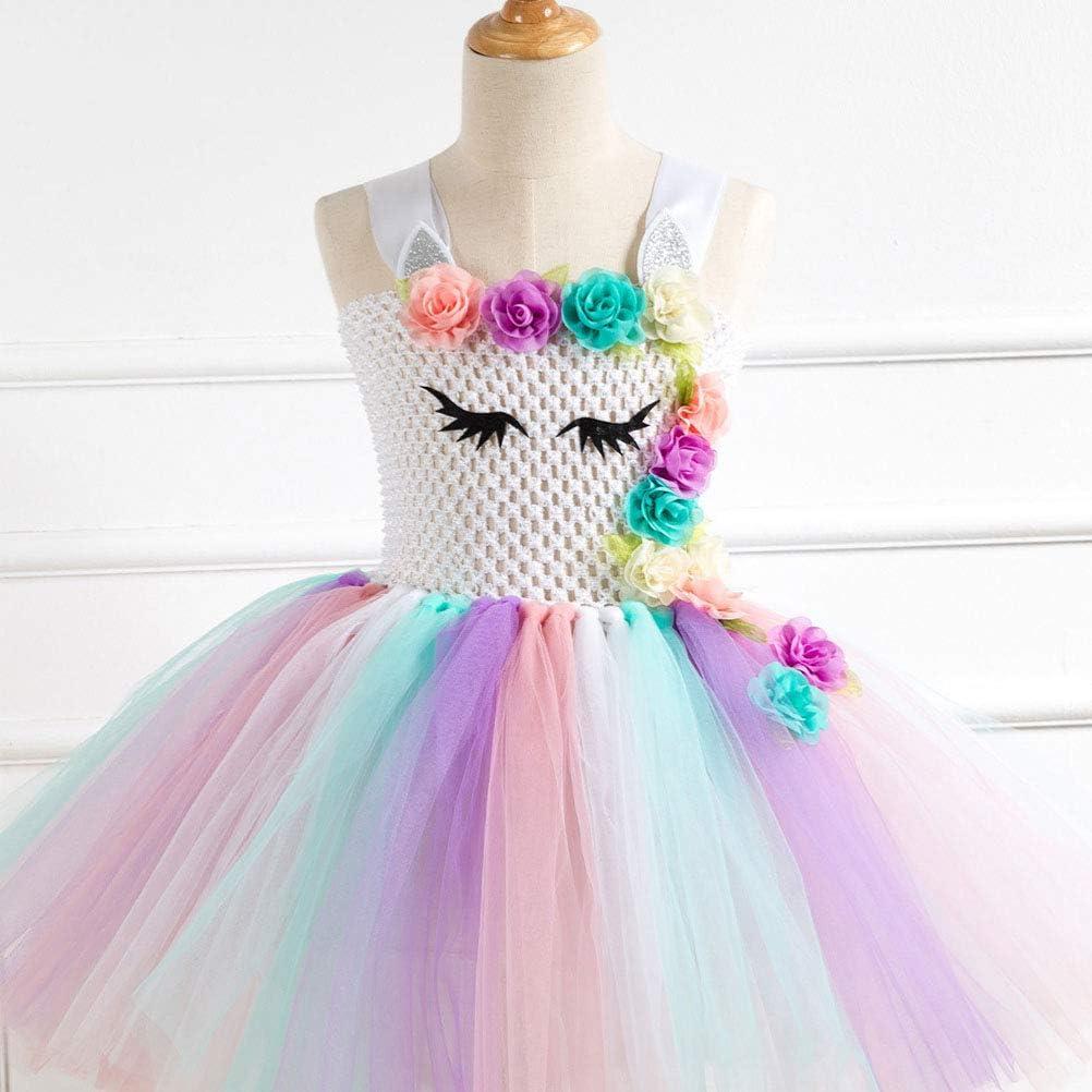 Amosfun Vestido de Princesa de Unicornio Diadema de Unicornio ...