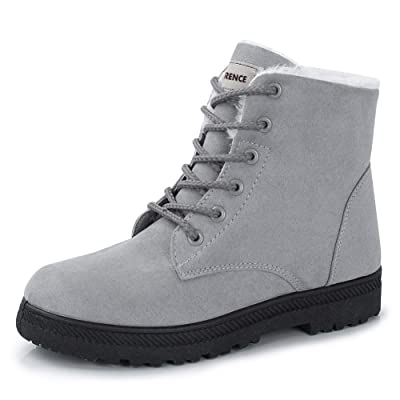 Women's Snow Boots Winter Suede Cotton Warm Fur Lined Ankle Boots Outdoor Anti-Slip Waterproof Booties Lace Up Platform Shoes Grey | Snow Boots