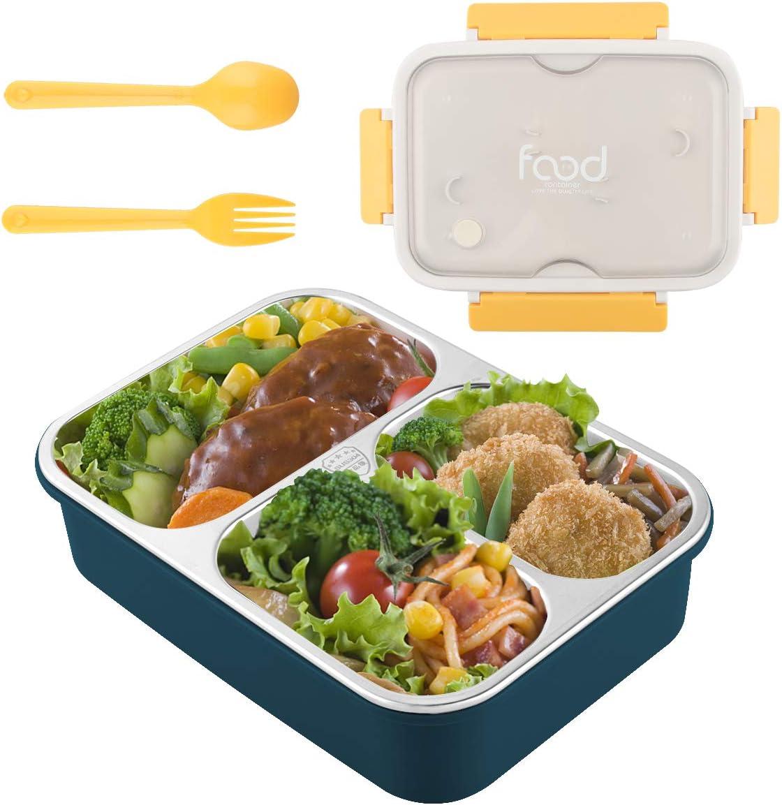 Fiambrera Adultos De Acero Inoxidable Lunch Bento Box Dos Niveles con Tres Compartimentos Contenedor de Alimentos Caja Bento de Acero Inoxidable Fiambreras para Niños