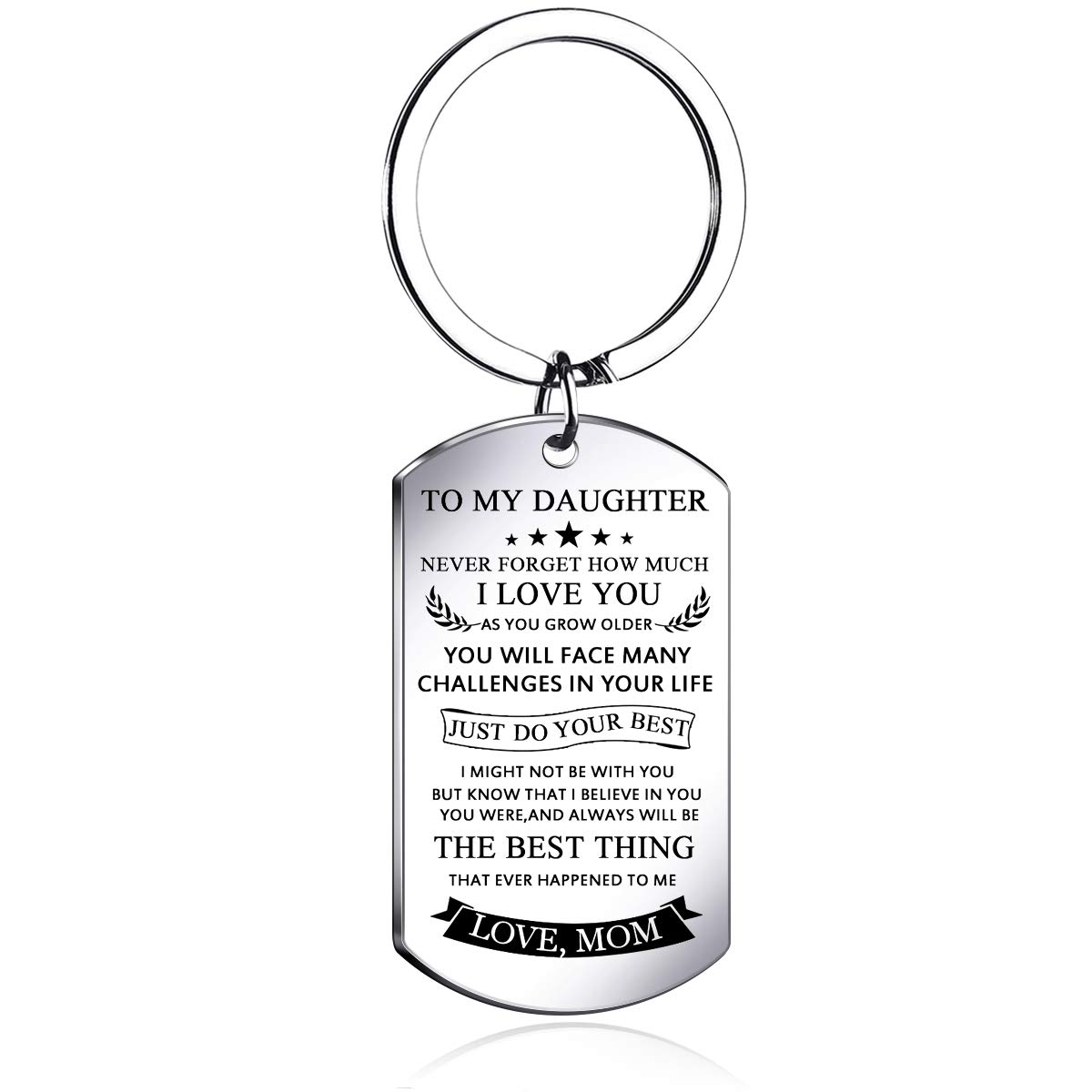 To my daughter from mom Stainless Steel keychain LettersTo my daughter never forget how.love mom keychain rings,Inspirational Gifts For daughter Jewelry