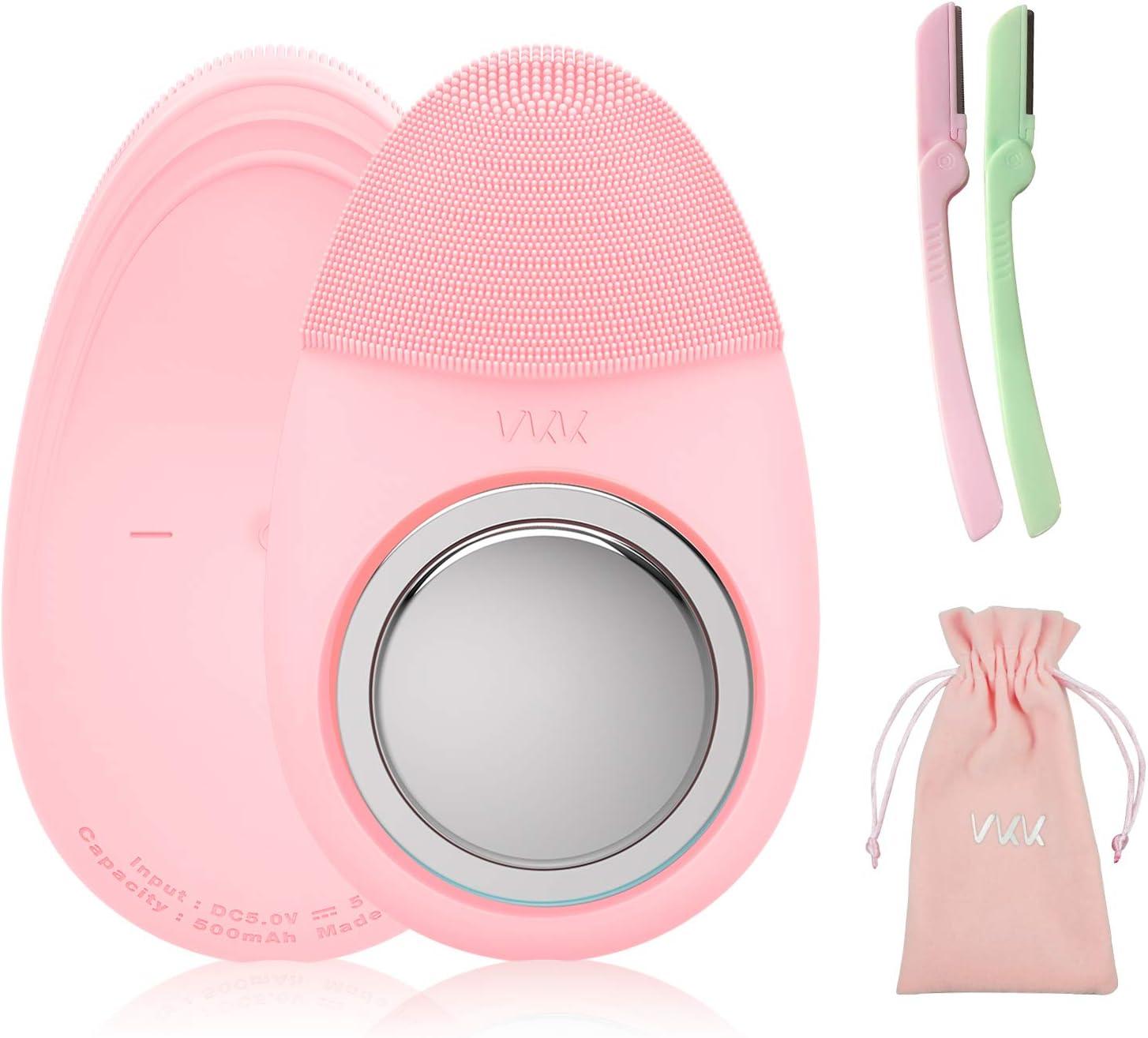 VKK Cepillo Limpiador Facial eléctrico, Cepillo de Silicona para Limpieza Facial y Anillo Magnético para Poner Disco ...