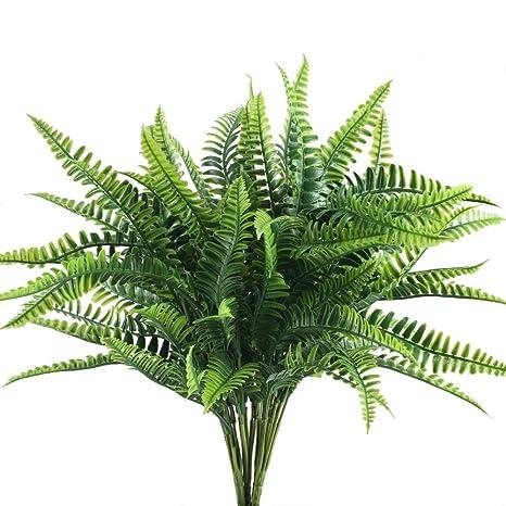 Nahuaa 4pcs Künstliche Farne künstliche Blumensträuße Outdoor-Pflanzen Gras persische wasserdichte gefälschte Pflanze Dekorat
