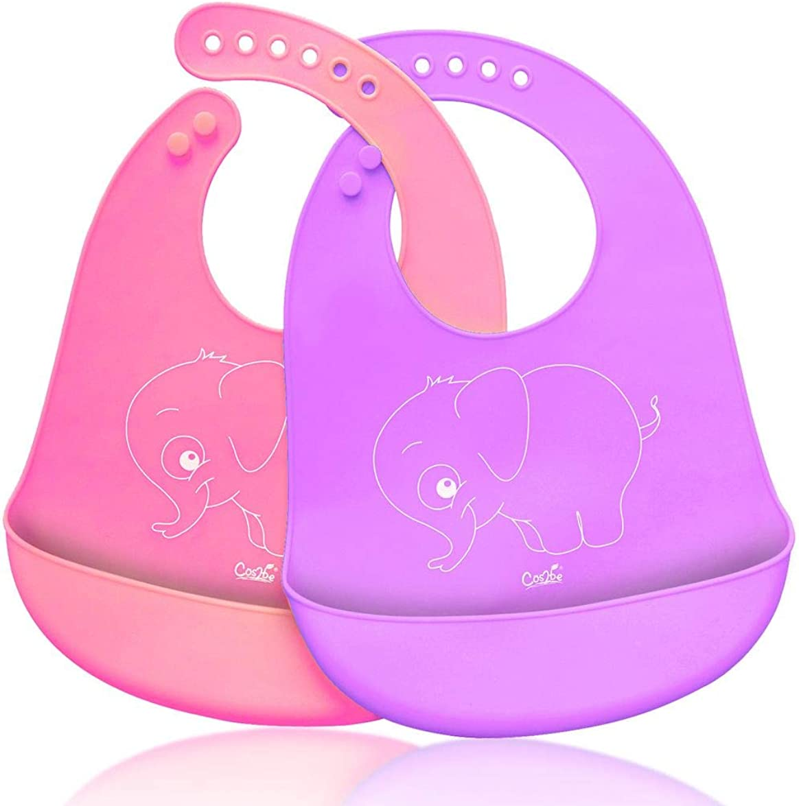 Cos2be Soft Silicone Bibs Easily Wipes Clean, Adjustable Smart Snaps Baby Bibs for Babies or Toddlers (Pack of 2)