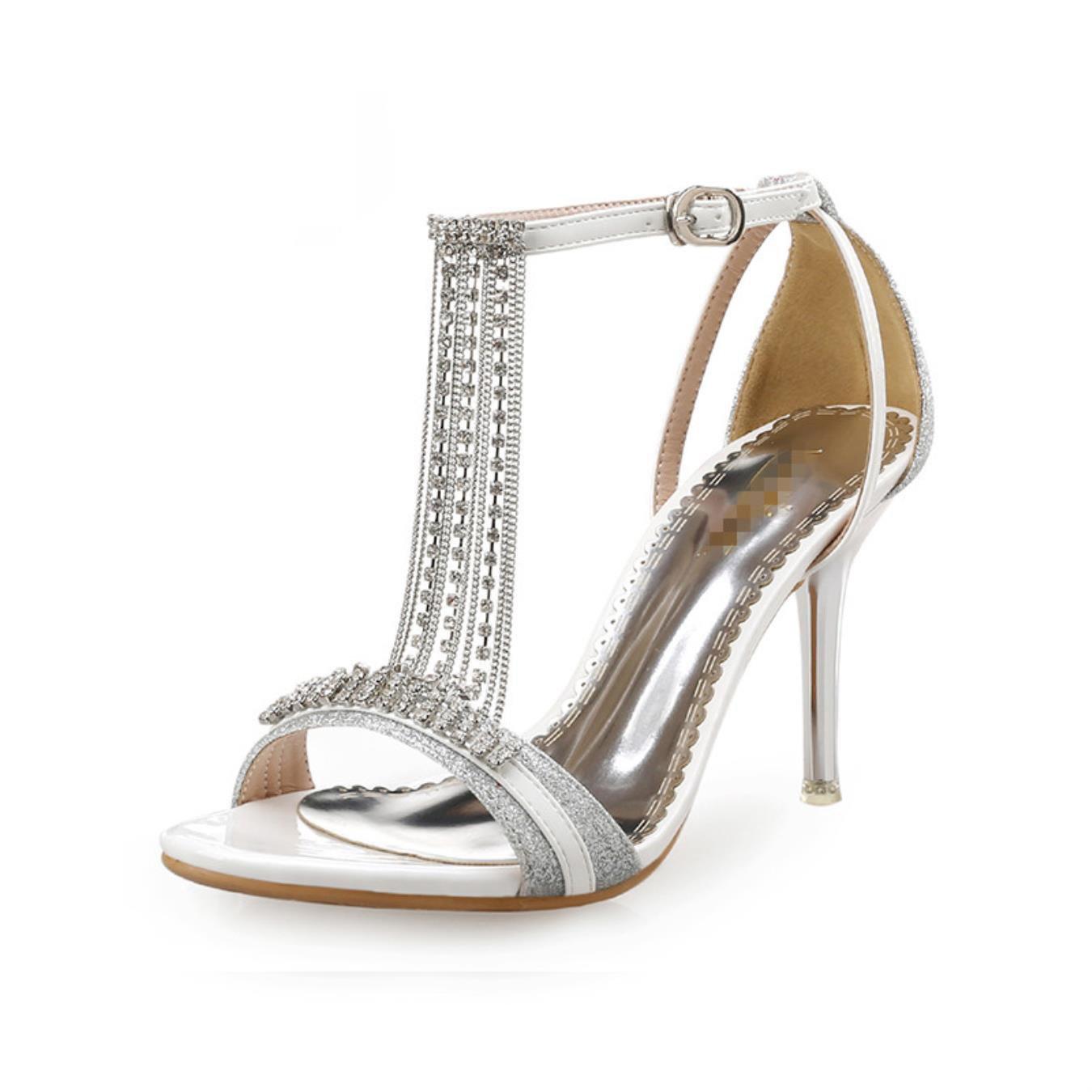 663daa5f0f741 Cristal dorado Boda de mujeres de verano sandalias de moda zapatos Novia  fiesta zapatos de vestir altos talones damas Sandalias Plata
