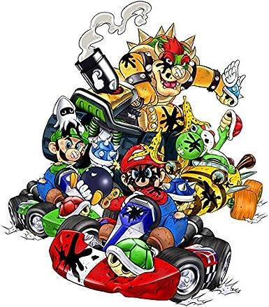 Luigi T-Shirt Enfant Noir Mario Kart parodique Mario Yoshi et Bowser : Kart Fighter Racing Parodie Mario Kart