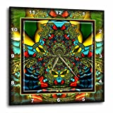 3dRose dpp_24841_1 Psychedellica 2 Hippie Flowerpower Retro Fractal Psychedellic Red Yellow Blue Retro Oriental India-Wall Clock, 10 by 10-Inch