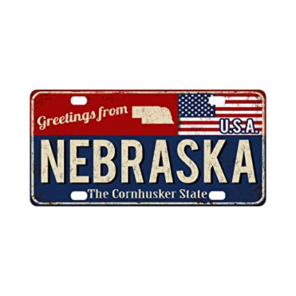 12 x 6 Inch Metal Auto Tag for Woman Man InterestPrint Greetings from Nebraska Rusty Metal Sign with American Flag Metal License Plate for Car