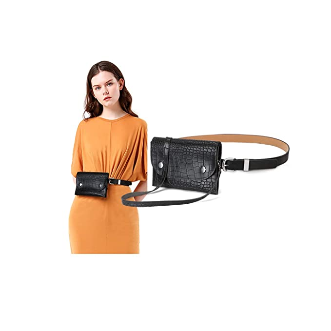 3527cfc5a1b Leather Fanny Packs For Women Waist Pack Bum Bag Pouch Phone Pocket With  Removable Leather Belt Multi-Use By SUOSDEY