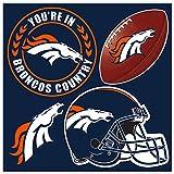 NFL Denver Broncos Unisex Denver Broncos 4Piece Magnet Set, Navy, One Size