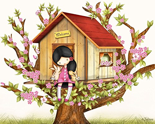 Tree House Wall Art for Kids Room Children's Bedroom Decor Girls Nursery Illustration available in all Hair Skin Colors and in 8''x10''/11''x14''/16''x20'' by Jolinne
