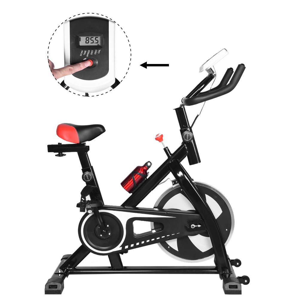 Anshinto Upright Exercise Bikes Stationary, Adjustable Exercise Bike, Indoor Cycling Spin Bike Trainer Bicycle Cardio Fitness Heart Pulse Training Equipment (Black)