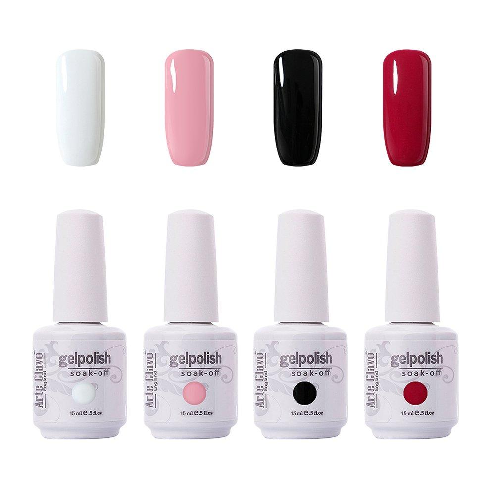 Arte Clavo 15ml Varnish Soak Off UV Led Nail Gel Polish Nail Art Salon Set 01 of 4 Colors
